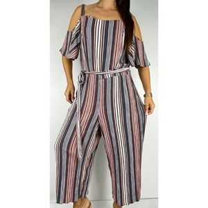 CITY CHIC Multi Striped Belted Jumpsuit Size M 18